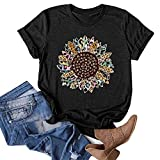 Womens Short Sleeve Graphic T Shirt Funny Cute Sunflower Leopard Feathers Seed Print Tees Casual Crewneck Summer Tops Black