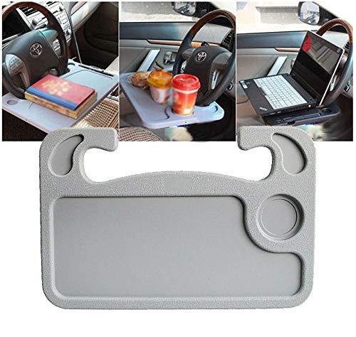 Multifunktionaler Auto-Lenkrad-Tisch, zusammenklappbar, für Computer, Laptop, Tablet, Auto, Tablett, Grau