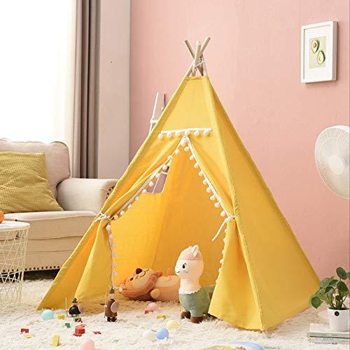 FCFLXJ Tienda plegable para niños, tienda de campaña plegable para niños, juegos de interior y al aire libre, casa pequeña, regalo de cumpleaños de Navidad para niños niñas, amarillo, 160 cm