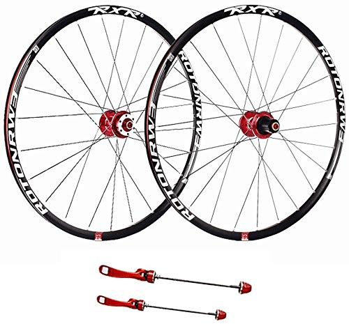AIFCX 27.5 Zoll Hinterrad, Laufrad Fahrrad Laufradsatz Doppelwandig Schnelle Veröffentlichung MTB Felge Versiegelt Lager Scheibe 7 8 9 10 Geschwindigkeit,Red-27.5inch