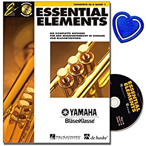 Essential Elements Band 1 mit CD für Trompete in B – Die komplette Methode für den Musikunterricht in Schulen und Blasorchestern – mit bunter herzförmiger Notenklammer