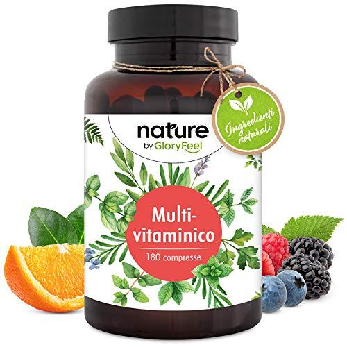 Integratore Multivitaminico Naturale ad Alta Biodisponibilità, 180 Compresse, Multivitamine per Uomini e Donne,Vitamine A, B1, B2, B3, B5, B6, B7, B9, B12, C, D, E, Calcio, Zinco e Selenio