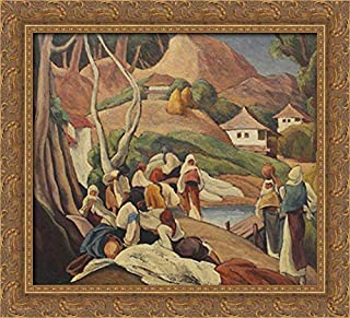 Composition with Peasant Women at Intersection 22x20 Gold Ornate Wood Framed Canvas Art by Ion Theodorescu Sion