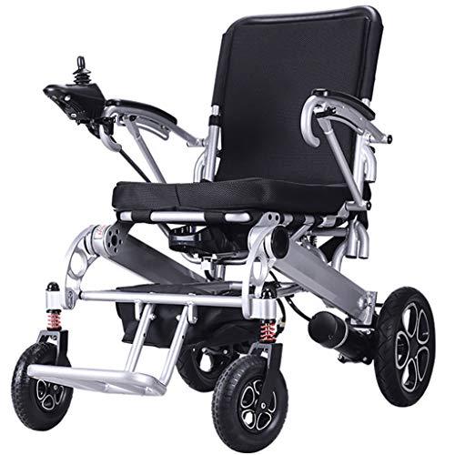 SJYhaha Silla de ruedas ligera plegable autopropulsada para viajes de tránsito, silla de ruedas eléctrica totalmente automática, scooter inteligente discapacitado, multifunción, 10 Ah