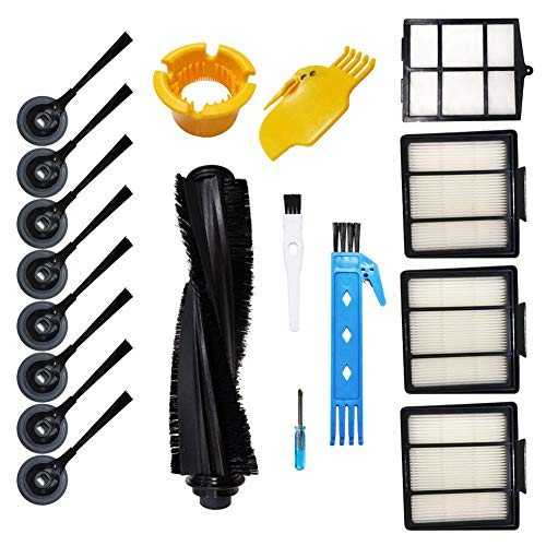 Theresa Hay 1 Main Brush & 1 Primary Filter & 3 Hepa Filters & 8 Side Brushes Accessories Kit for Shark ION Robot S87 R85 RV850 Vacuum Cleaner Replacement Parts