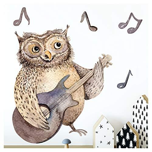 Little Deco wandtattoo bosdier uil met gitaar I A4-21 x 29,7 cm I wandafbeeldingen afbeeldingen wandsticker kinderkamer deco babykamer jongen wandsticker kinderen DL174