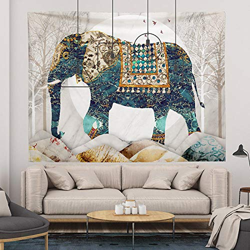 ZHANGXIANG Tapiz Pared Mandala Pared Revestimiento De Paredes Fondo Tela Dormitorio Decoración Habitación Tapiz Fondo Vivo Tela Colgante Felpa Pintura Rectangular-Elefante del Bosque_Los 3M * 2M