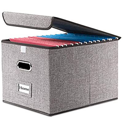 Prandom File Organizer Box - Set of 1 Collapsible Decorative Linen Filing Storage Hanging File Folders with Lids Office Cabinet Letter Size (15x12.2x10.75 inch)