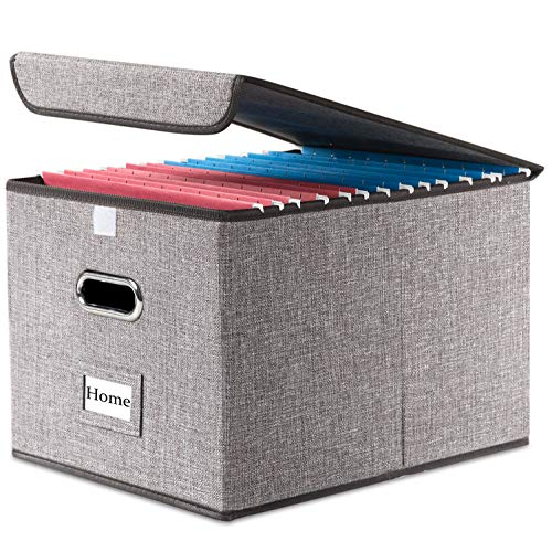 Prandom File Organizer Box - Set of 1 Collapsible Decorative Linen Filing Storage Hanging File Folders with Lids Office Cabinet Letter Size 15x122x1075 inch