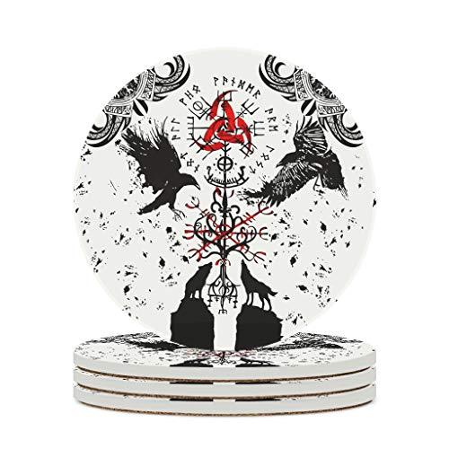 COMBON Shop Posavasos de cerámica VIKINGS TATTOO posavasos divertidos y duraderos con parte inferior de corcho de cerámica para la oficina, regalo de cumpleaños, color blanco, 4 unidades