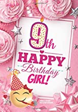 9th Happy Birthday Girl Journal & Coloring Pages Activity Notebook: Cute Emoji Special Birthday Card Style Guided Journal, Coloring & Word-Search For Kids To Write In