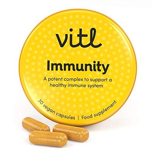 VITL Immunity | Vegan Supplements to Support a Healthy Immune System with High Strength Vitamin C, D and Zinc | 30 Capsules in Pocket-Sized Tin