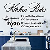 Vinyl Wall Sticker Kitchen Rules Art Home Mural Decor Wall Art Inspirational Quotes Wall Stickers for Kitchen Dining Room Living Room Wall Décor Home Decoration.