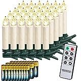 Deuba 30x LED Weihnachtsbaumkerzen kabellos weiß inkl. Batterien weiß...
