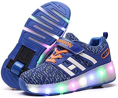 Patines, DIRIGIÓ Zapatos Intermitentes con Ruedas de Confort retráctil automáticas Zapatos de Flash Zapatos de patineta Zapatos Deportivos al Aire Libre (Color : Azul, Size : 29)