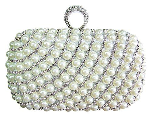 Elegante Damen Clutch Abendtasche Big Pearl - Weiß - Handtasche mit Perlen und Strass