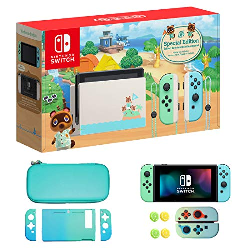 Newest Nintendo Switch with Green and Blue Joy-Con - Animal Crossing: New Horizons Edition - 6.2' Touchscreen Screen - Family Christmas Holiday Bundle - Green and Blue - WiKu 8-in-1 Carrying Case