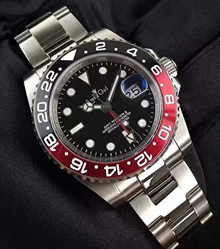 Neue Herren Automatik Mechanische Uhr Full Black Gehäuse Rot Blau Keramik GMT II Edelstahl Saphir Gummi Armband (Red Black)