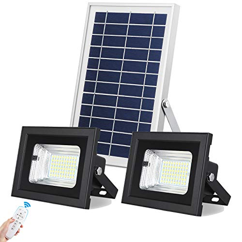 UPONUN Solar Flood Lights Outdoor/Indoor Dusk to Dawn Dual Head 60LED IP67 Waterproof Smart Remote Control Solar Security Light for Shed Barn Yard Pool Patio Garden Garage