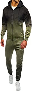 Mens Fashion Tie Dye Zipper Sweatshirt Jacket Pants Sets Tracksuit Hoodies Set