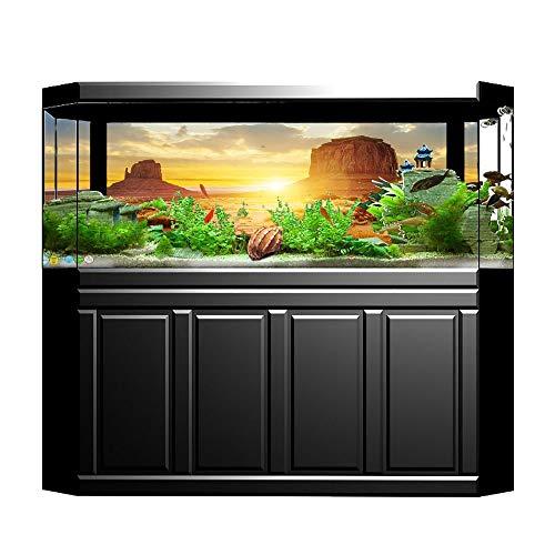 Sobotoo Póster de fondo de acuario con diseño de pecera de PVC, adhesivo de sol submarino y estilo desierto, decoración de papel adhesivo adhesivo (61 x 30 cm)