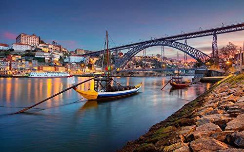 OAEC Puzzle 500 Piezas para Adultos DIY Grande Wooden Jigsaw Puzzles Oporto, Portugal Challenging Teen Casual Puzzle Educational Game Juguete Regalo 38X52Cm