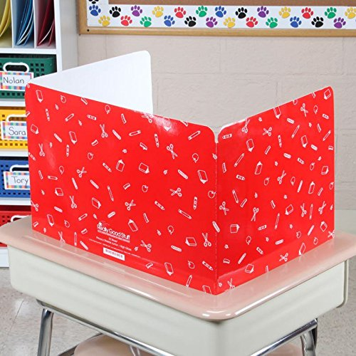 Standard Privacy Shields for Student Desks – Set of 12 - Gloss - Study Carrel Reduces Distractions - Keep Eyes from Wandering During Tests, Red, Blue & Green with School Supplies Pattern