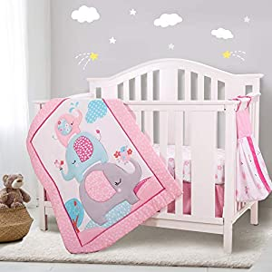 Honkaii Elephant Crib Bedding Set 4Pcs for Girls with Comforter Fitted Sheet Crib Skirt Diaper Stacker, Machine Washable, Suitable for 28 x 52 Inch Cribs, Lovely Nursery Crib Sets for Baby(Pink)