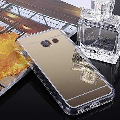 ZAORUN Cubiertas Protectoras de Cellphone Compatible for Samsung Galaxy J5 (2017) (Versión EE. UU.) Acrílico TPU Caso de la contraportada Protectora del Espejo de galvanoplastia (Color : Gold)