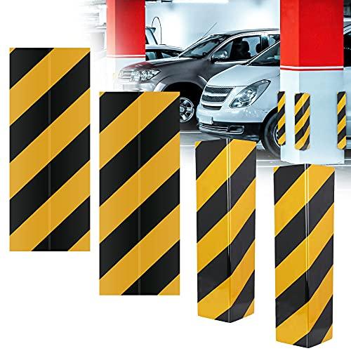 DECARETA 4 Pezzi Paraspigoli per Garage Paraspigoli per Colonna Garage Flessibile Paracolpi Angolare Adesivi Paraspigoli per Gli Spigoli del Posto Auto per Evitare Colpi al Auto (Nero Giallo)