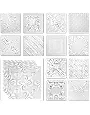 Plafondplaten van piepschuim XPS - witte decoratieve panelen licht & vormvast - (26QM voordeelpakket NR.68 50x50cm) vochtige ruimte plafond muur plafondbekleding wit