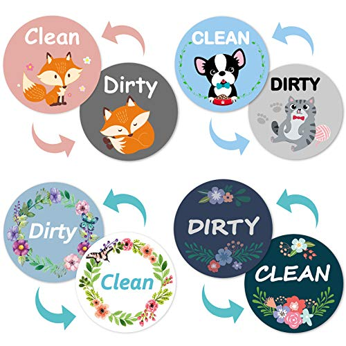 Gulfmew 4 Clean Dirty Dishwasher Magnet Set Reversible Flexible Flip Sign Washable Thickened Dishwasher Sign Clean Dirty Magnet, Printed and Packaging with Adhesive Magnetic Plate for Dishwasher