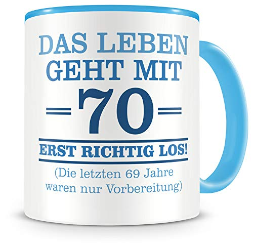 Samunshi® Tasse mit Spruch witzige Geschenke zum 70 Geburtstag Mann Frau Oma Opa Geburtstag Geschenkideen zum 70 Geburtstag (70 Jahre 300ml hellblau/hellblau)