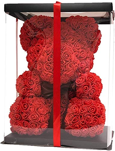 Teddy Bear Rose Dekorationsgeschenk, Home Decor Lady Or Kid Birthday, Handgemachte Rose Pattern Bear-Form Geschenk,Red