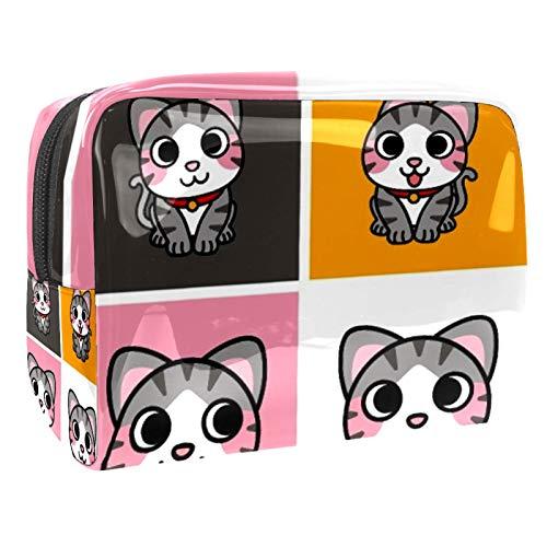 Bolsa de maquillaje de PVC con cremallera, bolsa de cosméticos impermeable con bonito patrón de marionetas de gato para mujeres y niñas