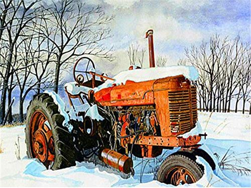 neivy Tractor Farm 5D DIY Diamond Painting Kits,Crystal Rhinestone Embroidery Pictures for Adult and Kids Full Drill Kit Arts Craft Gift for Home Wall Decor(Full Square 50x60cm)