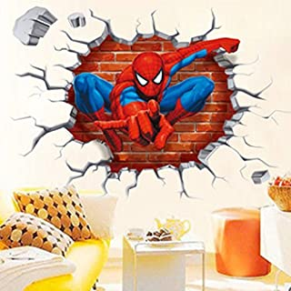 cbf78ba93bc Jiahui Brand DIY Removable Spiderman 3D Cracked Children Themed Art Boy  Room Wall Sticker Home Decal