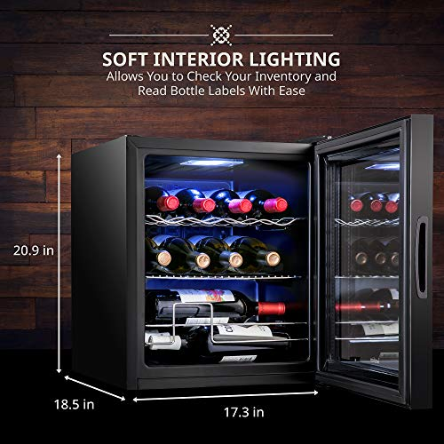 Ivation 12 Bottle Compressor Wine Cooler Refrigerator w/Lock | Large Freestanding Wine Cellar For Red, White, Champagne or Sparkling Wine | 41f-64f Digital Temperature Control Fridge Glass Door Black