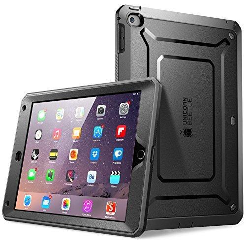 SUPCASE Schutzhülle für iPad Air 2, 2. Generation 2014, Einhorn-Beetle-Pro-Serie, robust, Hybrid-Schutzhülle mit integriertem Displayschutz, Schwarz/Schwarz