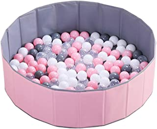 LIUFS-Playpen Child Safety Game Fence Colored Balls Transparent Pink Ocean Ball Pool Fence Thickening 7CM Soft Ball Amusement Park Toy Folding Pool (Color : Pink Pool+100 Balls)