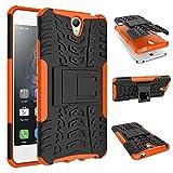 Für Lenovo Vibe S1,Sunrive Hülle Tasche Schutzhülle Etui Hülle Cover Hybride Silikon Stoßfest Handyhülle Hüllen Zwei-Schichte Armor Design Tasche mit schlagfesten mit Ständer Slim Fall(Orange)+Gratis Universal Eingabestift