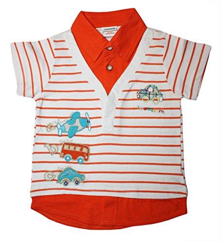 Ajiduo Jungen Kinder Polo-Shirt ABC-Applikation mit Fahrzeugen, Flugzeug, Auto und Bus in orange Größe 116 (5-6 Jahre)