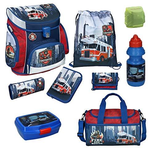 Feuerwehr-Auto Schulranzen-Set 9 TLG. Scooli Campus Fit Ranzen 1. Klasse mit Federmappe, Dose, Flasche, Sporttasche und Regenschutz