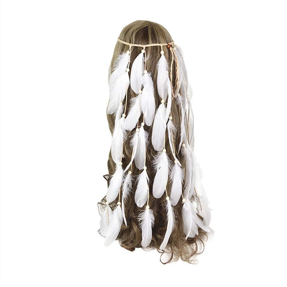 White Feather Headband overseas Women Festival Fashion Headwear Bohomia