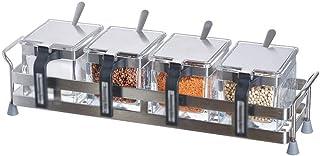 SCDZS Verre transparent Pot à épices Assaisonnement Box Set Outils Container cuisine Condiments Jars Cruet avec la couvert...