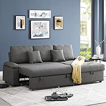 GOOD & GRACIOUS Sectional Sleeper Sofa Couch with Pull Out Bed L Shaped Modern Sectional Sofa Bed with Chaise Lounge and Storage Function for Living Room Dark Gray