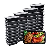 IUMÉ Meal Prep Containers, 50 Pack Bento Boxes Disposable Plastic Bento Insulated Lunch Box Reusable Healthy Food Storage Containers with Lids for Dishwasher Freezer Safe (750ML/ 26 OZ)
