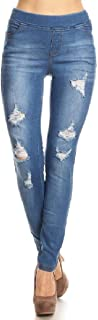 Women's Stretch Pull-On Skinny Ripped Distressed Denim Jeggings Regular-Plus Size