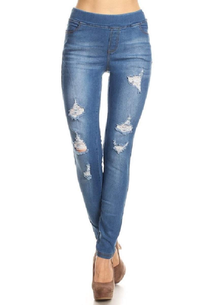 Womens Stretch Skinny Distressed Jeggings
