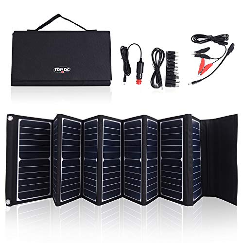 TOPDC 60W High Efficiency 22% Solar Charger with 5V USB 18V DC Dual Output, with Battery Clamps and Car Charger for Laptop Tablet GPS Cellphone,Car, Portable Solar Power Charger for Camping & Outdoors